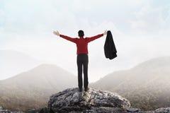 Hombre de negocios que se coloca en el top de la montaña Fotografía de archivo