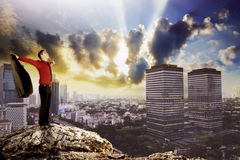 Hombre de negocios que se coloca en el top de la roca Fotografía de archivo libre de regalías