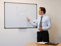 Hombre de negocios que se coloca en un tablero Foto de archivo