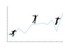 Hombre de negocios que se ejecuta en gráfico Fotografía de archivo libre de regalías