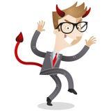 Hombre de negocios que se escabulle con los cuernos y la cola de los diablos Imágenes de archivo libres de regalías