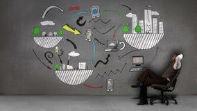 Hombre de negocios que se sienta delante de la animación coloreada de influencias globales almacen de video