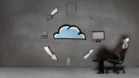Hombre de negocios que se sienta delante de los dispositivos electrónicos animados que circundan la nube metrajes