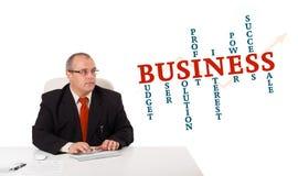 Hombre de negocios que se sienta en el escritorio y que mecanografía en el teclado con clo de la palabra Imágenes de archivo libres de regalías