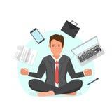 Hombre de negocios que se sienta en la posición y el intento de loto para relajarse libre illustration