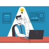 Hombre de negocios que se sienta en silla con el ordenador portátil y que señala a la idea del bulbo Ejemplo plano del vector stock de ilustración
