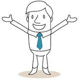 Hombre de negocios que sonríe con los brazos abiertos Imagen de archivo