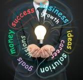 Hombre de negocios que sostiene bulbos Imagen de archivo libre de regalías