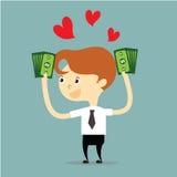 Hombre de negocios que sostiene el dinero con vector rojo del corazón Fotos de archivo