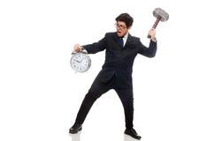 Hombre de negocios que sostiene el martillo aislado en blanco Imágenes de archivo libres de regalías