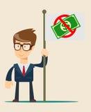 Hombre de negocios que sostiene la bandera disponible con la prohibición del dinero Imagenes de archivo