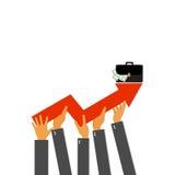 Hombre de negocios que sostiene la flecha que sube Hombres de negocios con el gráfico del crecimiento Fotografía de archivo libre de regalías