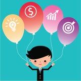 Hombre de negocios que sostiene los globos del icono Imagen de archivo libre de regalías