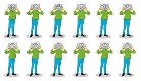 Hombre de negocios que sostiene los papeles con diversas emociones La motivaci?n para las emociones de ocultaci?n Fije de emocion libre illustration