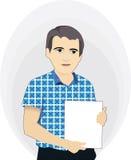 Hombre de negocios que sostiene un cartel en blanco Stock de ilustración