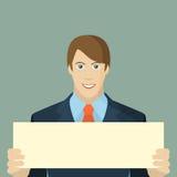 Hombre de negocios que sostiene un cartel vacío ilustración del vector