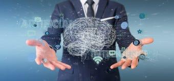 Hombre de negocios que sostiene un 3d que rinde conce de la inteligencia artificial fotografía de archivo libre de regalías