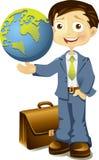 Hombre de negocios que sostiene un globo disponible Fotografía de archivo libre de regalías