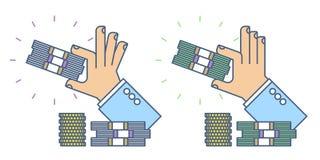 Hombre de negocios que sostiene un paquete de dinero Imagen de archivo libre de regalías