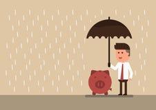 Hombre de negocios que sostiene un paraguas a la hucha stock de ilustración