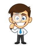 Hombre de negocios que sostiene una lupa ilustración del vector