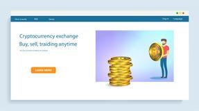 Hombre de negocios que sostiene una moneda de oro del bitcoin en el fondo de pilas de símbolos Tecnología de red de Blockchain, stock de ilustración