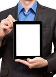 Hombre de negocios que sostiene una tablilla Imágenes de archivo libres de regalías