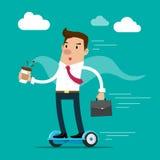 Hombre de negocios que sostiene una taza de café y de cartera que van a trabajar por hoverboard Ilustración aislada del vector Imagen de archivo libre de regalías