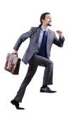 Hombre de negocios que sube la escala virtual Imágenes de archivo libres de regalías
