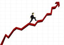 Hombre de negocios que sube un gráfico financiero Fotos de archivo libres de regalías