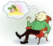 Hombre de negocios que sueña sobre las vacaciones, vector Fotos de archivo