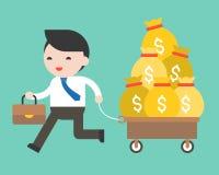 Hombre de negocios que tira del carro por completo del dinero, situación de negocio concentrada stock de ilustración