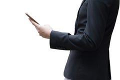 Hombre de negocios que trabaja con el smartphone aislado en el fondo blanco Fotografía de archivo