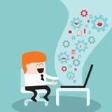 Hombre de negocios que trabaja en amor del ordenador portátil I mi concepto acertado del negocio del trabajo Imagen de archivo libre de regalías