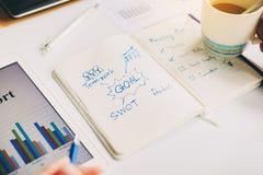 Hombre de negocios que trabaja en el proyecto para el EMPOLLÓN que analiza el equilibrio financiero del informe de la compañía co foto de archivo