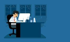 Hombre de negocios que trabaja en horas extras en la oficina stock de ilustración