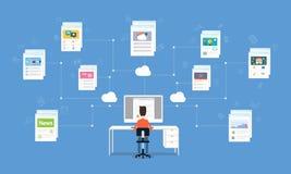 Hombre de negocios que trabaja en la conexión de red en línea de Internet ilustración del vector