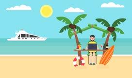 Hombre de negocios que trabaja en un ordenador en la playa El administrador de sistema está el vacaciones foto de archivo libre de regalías