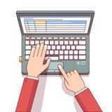 Hombre de negocios que usa el ordenador portátil para calcular algo ilustración del vector
