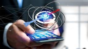 Hombre de negocios que usa un compás de la navegación en un smartphone - 3d ren ilustración del vector