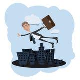 Hombre de negocios que vuela sobre la ciudad Imagen de archivo