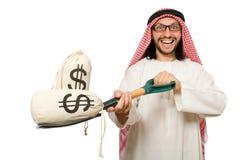 Hombre de negocios árabe aislado en blanco Foto de archivo libre de regalías