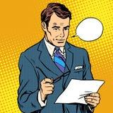 Hombre de negocios Reading un documento stock de ilustración