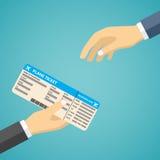 Hombre de negocios Receiving Boarding Pass en el aeropuerto stock de ilustración