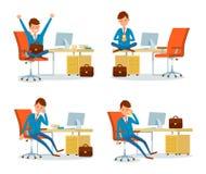 Hombre de negocios Relaxing bebiendo té por la tabla ilustración del vector