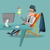 Hombre de negocios Relaxing de la historieta en la oficina con el cóctel tropical Rotura de trabajo ilustración del vector