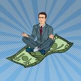 Hombre de negocios Relaxing y reflexionar sobre los cientos billetes de dólar Arte pop libre illustration