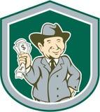 Hombre de negocios Rich Man Money Shield Cartoon Fotos de archivo libres de regalías
