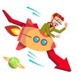 Hombre de negocios Riding Rocket Falls Down On Background del vector rojo descendente de la flecha Ilustración libre illustration