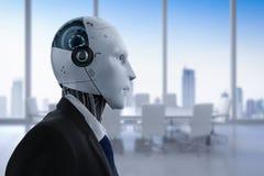 Hombre de negocios robótico en oficina imagenes de archivo